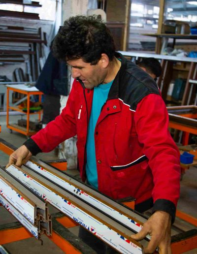Tâmplărie PVC maro | Poză din atelier 1 | Termopane Galați
